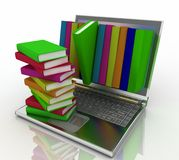 Books from your laptop vector illustration