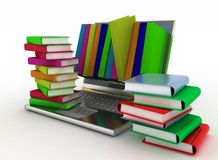Books from your laptop Royalty Free Stock Photo