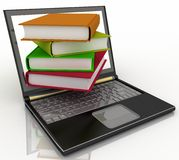Books from your laptop on a white royalty free illustration