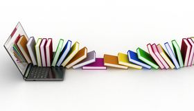Books from your laptop on a white royalty free stock image