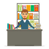 Bookseller or librarian at the counter. Stock Photo