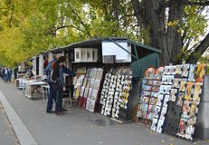 Booksellers on the Seine in Paris. Bookseller stalls along the Seine River in France are a time honored institution in Paris Stock Image