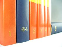 Bookshelf. Pile of books isolated on white Stock Photo