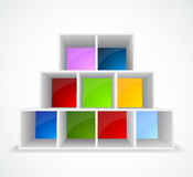 Bookshelf. White background with different color bookshelf Stock Photo