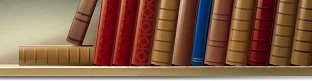 Bookshelf. Illustration of old books on the shelf Royalty Free Stock Photography