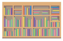 Bookshelf. Book shelf showing an array of books with colorful covers Royalty Free Stock Images