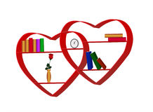 Bookshelf. Vectors bookshelves in the form of interlocking hearts Stock Photos