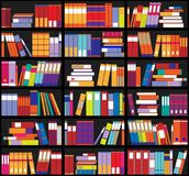 Bookshelf background. Shelves full of colorful books. Home library with books. Vector close up illustration. Cartoon Design Style. Stock Photography