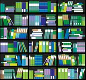 Bookshelf background. Shelves full of colorful books. Home library with books. Vector close up illustration. Cartoon Design Style. Royalty Free Stock Images