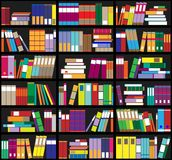 Bookshelf background. Shelves full of colorful books. Home library with books. Vector close up illustration. Cartoon Design Style. Royalty Free Stock Photo