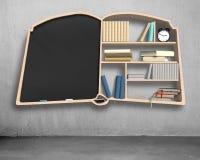 Bookshelf and blackboard in book shape Stock Photos