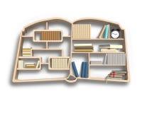Bookshelf in book shape Stock Photos