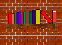 The bookshelf with books on the brick background Royalty Free Stock Images