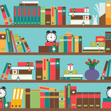 Bookshelf with books. In flat style seamless pattern Royalty Free Stock Photos