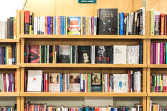 Bookshelf With Books In Library Stock Image