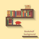 Bookshelf with books. And piggy bank. Bookshelf in flat style with shadow. background reading. Vector illustration Royalty Free Stock Photos
