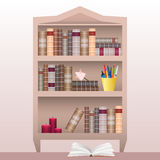Bookshelf with books, stationery and  candles. Stock Photo