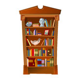 Bookshelf with bust, photo frame and toy Royalty Free Stock Images