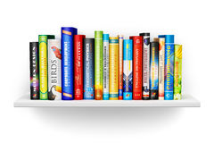 Bookshelf with color hardcover books. Creative abstract science, knowledge, education, back to school, business and corporate office life concept: bookshelf with Stock Images