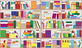 Bookshelf background. Shelves full of colorful books. Home library with books. Vector close up illustration. Cartoon Design Style. Stock Image