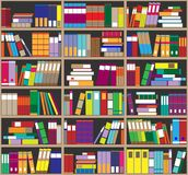 Bookshelf background. Shelves full of colorful books. Home library with books. Vector close up illustration. Cartoon Design Style. Stock Images