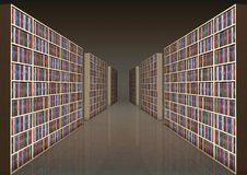 Bookshelf corridor Stock Photography