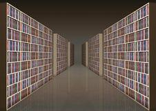 Bookshelf corridor stock photography