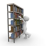 Bookshelf. A 3D character tries to take a book from the shelf Royalty Free Stock Photo