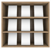 Bookshelf. 3d render isolated on white background Stock Photography