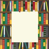 Bookshelf and empty blank board with copyspace for your text. Bookshelf and an empty blank board with copyspace for your text Royalty Free Stock Image