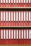 Bookshelf with folders Royalty Free Stock Photos