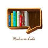 Bookshelf in the form of speech bubble. Bookshelf form of speech bubble,  Eps10 illustration Royalty Free Stock Images