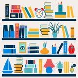 Bookshelf full of books - Illustration stock illustration