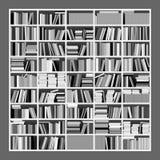Bookshelf in Gray Scale. Vector Illustration of a Big Untidy Bookshelf in Gray Scale Stock Photos
