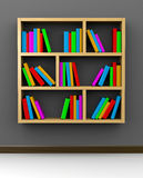 Bookshelf on Grey. Wooden Bookshelf on Grey Background 3D Illustration Stock Photos