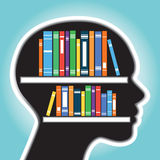 Bookshelf with human head concept Royalty Free Stock Photography