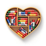 Bookshelf with ictionaries in form of heart. Learning language c. Oncept background. 3d Stock Images