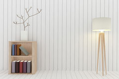Bookshelf with lamp decoration in white room design in 3D rendering Royalty Free Stock Photo