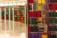 Bookshelf in the library Stock Image