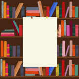Bookshelf in library with empty blank board on it. Bookshelf in library with an empty blank board on it royalty free illustration