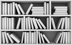 Bookshelf and many books. Abstract bookshelf and many books white. 3d illustration Royalty Free Stock Image
