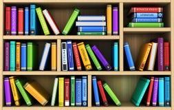 Bookshelf and many books. 3d illustration Royalty Free Stock Images