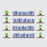 Bookshelf With Pot Plant On Wall Stock Photos