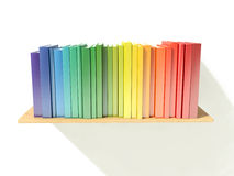 Bookshelf with rainbow color hardcover books  on white Stock Photography