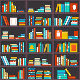 Bookshelf seamless background. Library education, shelf row, literature and school, knowledge and study, vector illustration Stock Photography