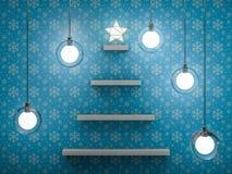 Bookshelf shaped christmas tree. 3D Royalty Free Stock Photos