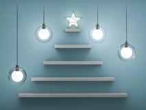 Bookshelf shaped christmas tree. 3D Royalty Free Stock Photo