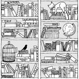 Bookshelf with sleeping cat (seamless pattern). Hand drawn bookshelf with sleeping cat and birdcage - black and white royalty free illustration