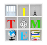 Bookshelf with Stopwatch, Books, Globe, Office Binders and Eiffe Royalty Free Stock Photography