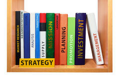 Bookshelf with strategy knowledge and skills. Stock Image